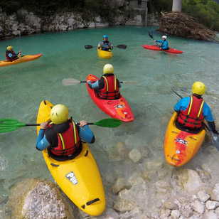 Kayak school on Soča, Bovec, Slovenia